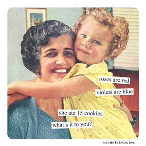 "Anne Taintor Magnet, ""she ate 15 cookies"""