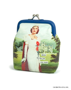"Anne Taintor Coin Purse ""dress for the job you want"""