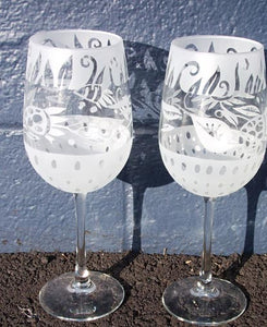 "Leandra Drumm Wine Glasses, set of 2, ""Garden"""
