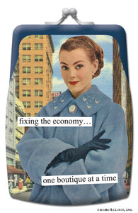 "Anne Taintor Coin Purse ""fixing the economy"""