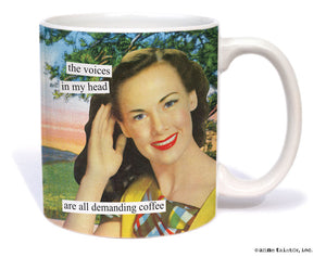 "Anne Taintor Mug  ""demanding coffee"""