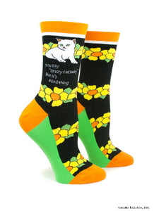 Anne Taintor Crew Socks ~ crazy cat lady
