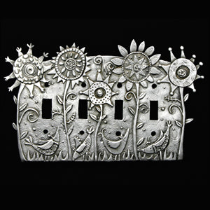 """Flower Power"" switchplate cover by Leandra Drumm/ Quad (#117)"