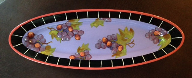 Grape Clusters Long Platter /Droll Design