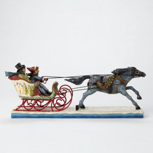 "Jim Shore ""The Horse Knows The Way""-Victorian Couple In Sleigh Figurine"