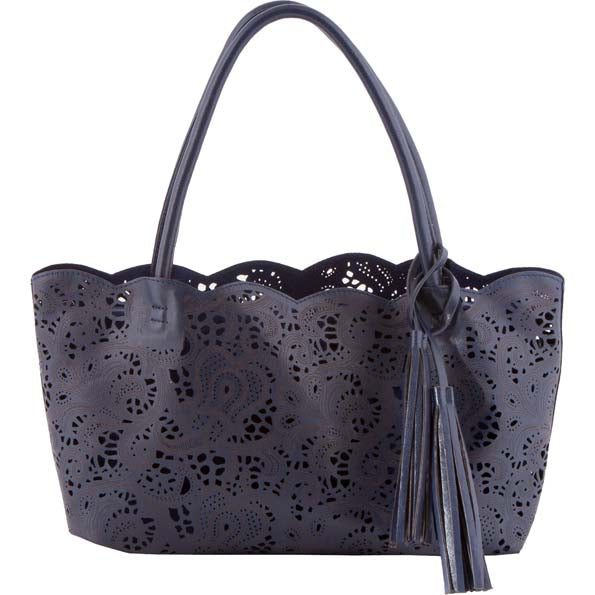 BUCO Handbag, Small Lace Leather Tote, Navy