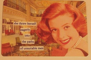 "Anne Taintor Postcard with Magnet ""unsuitable men"""