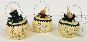 "Nicol Sayre ""White Pumpkin Characters"" set of 3"