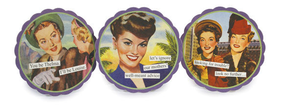 Set of 6 Coasters - (thel/look/igno)