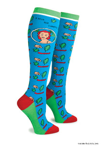 "Anne Taintor Knee Socks ~ ""I love not camping"""