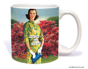 "Anne Taintor Mug  ""keep calm and carry cash"""