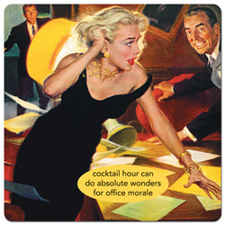 "Anne Taintor magnet ""cocktail hour can do absolute wonders for office morale"""
