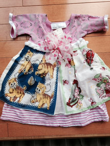 Toni Tierney Dress with Apron, pom-poms and flower/ 6 months