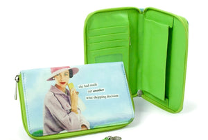 "Anne Taintor Zip Around Wallet ""decision"""