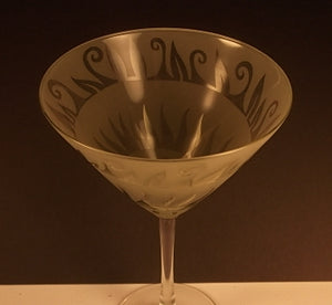 1 Etched Martini Glass by Leandra Drumm