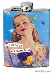 "Anne Taintor Flask - ""I'm so happy it's happy hour"""