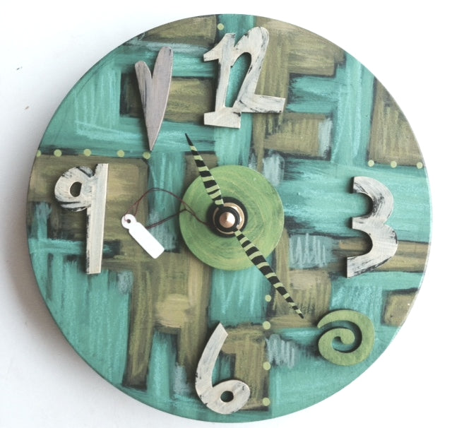 Hand-Painted, One-of-a-Kind Wall Clock by Elisa Drumm