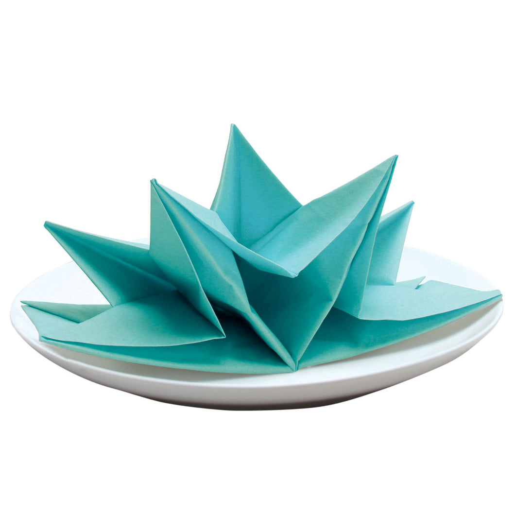 Aqua Fancy Fold Napkins