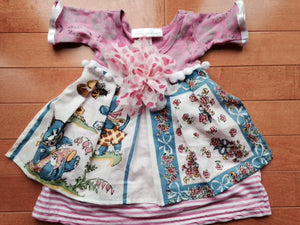 Toni Tierney Dress with Apron, pom-poms and flower/ 3 mo. & 12 mo.