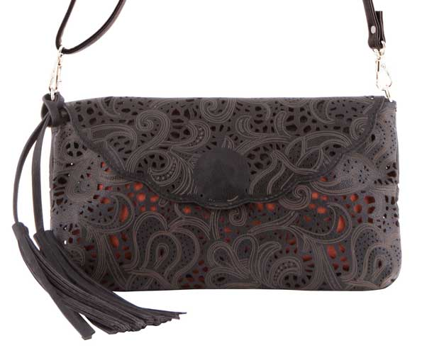 BUCO Handbag, Lace Leather Cross-Body Bag, Black