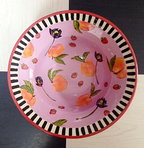 "Droll Designs Tall Rimmed Bowl ""Peaches"""