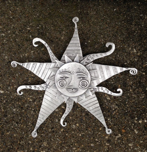 """Starburst Sun"" Pewter Wall Sculpture by Leandra Drumm"