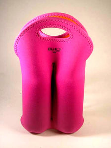 Built NY Two-Bottle Wine Tote in Pink w/ Orange Lining