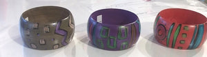 Hand-Painted, One-of-a-Kind wood bracelets by Elisa Drumm