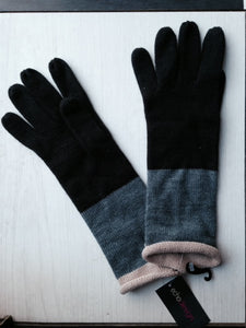 "Echo ""Optical Stripe Gloves"" ~ black & grey"