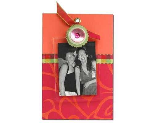 Pink Gem Button cute clip frame