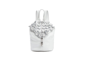 Leather Backpack / beautiful white flowers