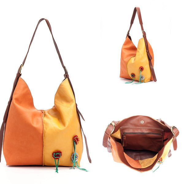 Tote Bag - Orange /Yellow Flowers - Avi Algrisi