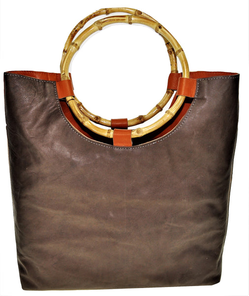 Handled Tote Bag, Brown/Black with bamboo handles, lined with leather. - Avi Algrisi