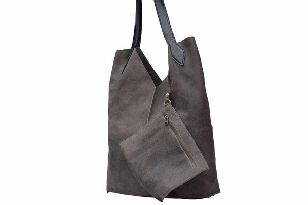 Tote Bag / Gray Shoulder Bag with black handles/ with an adjustable zip purse - Avi Algrisi