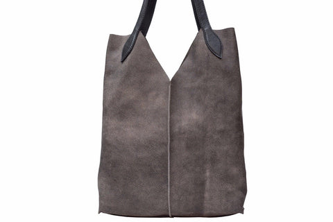 Tote Bag / Gray Shoulder Bag with black handles - Avi Algrisi