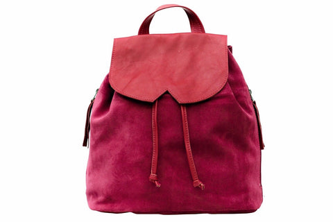Leather Backpack - Red Suede in Leather - Avi Algrisi