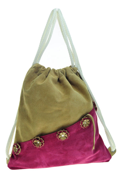 Leather floral backpack with  zipped outer pocket. - Avi Algrisi