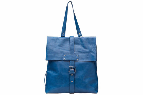LEATHER BACKPACK/ Laptop Bag/ Blue Satchel Bag/Office bag