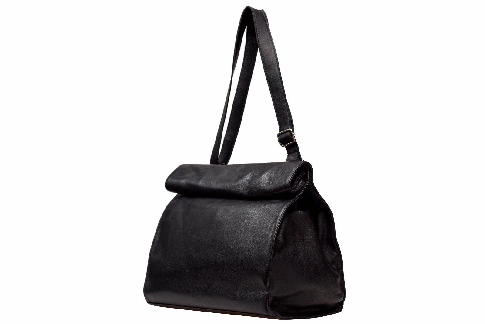 ELEGANT BLACK LEATHER SHOULDER BAG - Avi Algrisi