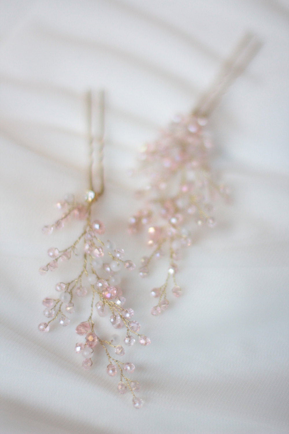 Bridal Hair Pins with Rose Quartz Set of Two