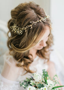 Bridal Hair Vine Cannetille Wreath with Crystals