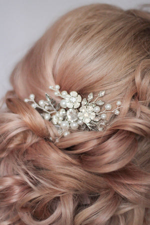 Bridal Hair Clip with Floral Components
