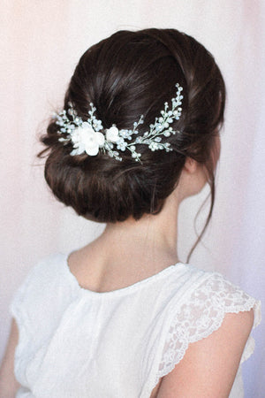 Wedding Headpiece with Opals and Floral Components
