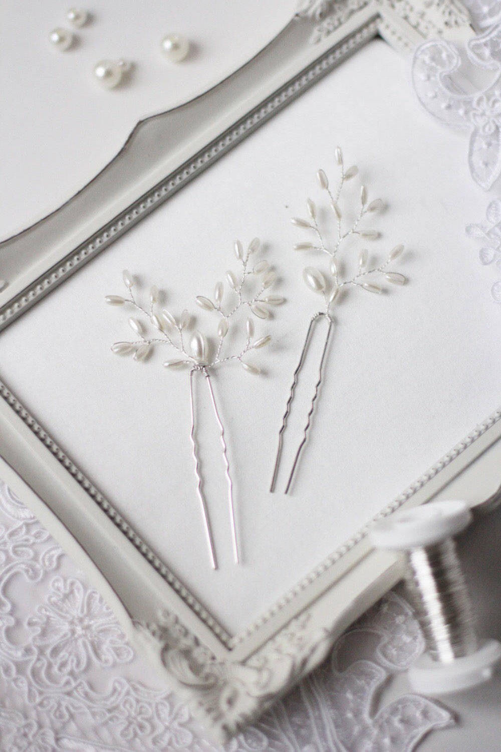 Set of THREE Wedding Hair Pins with Pearls