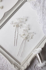 Bridal Bobby Pins with Pearls, PAIR