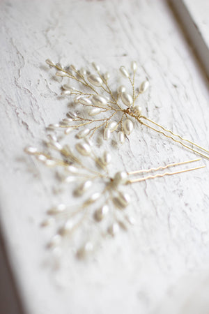 Rice Pearl Decorated Bridal Hair Pins PAIR