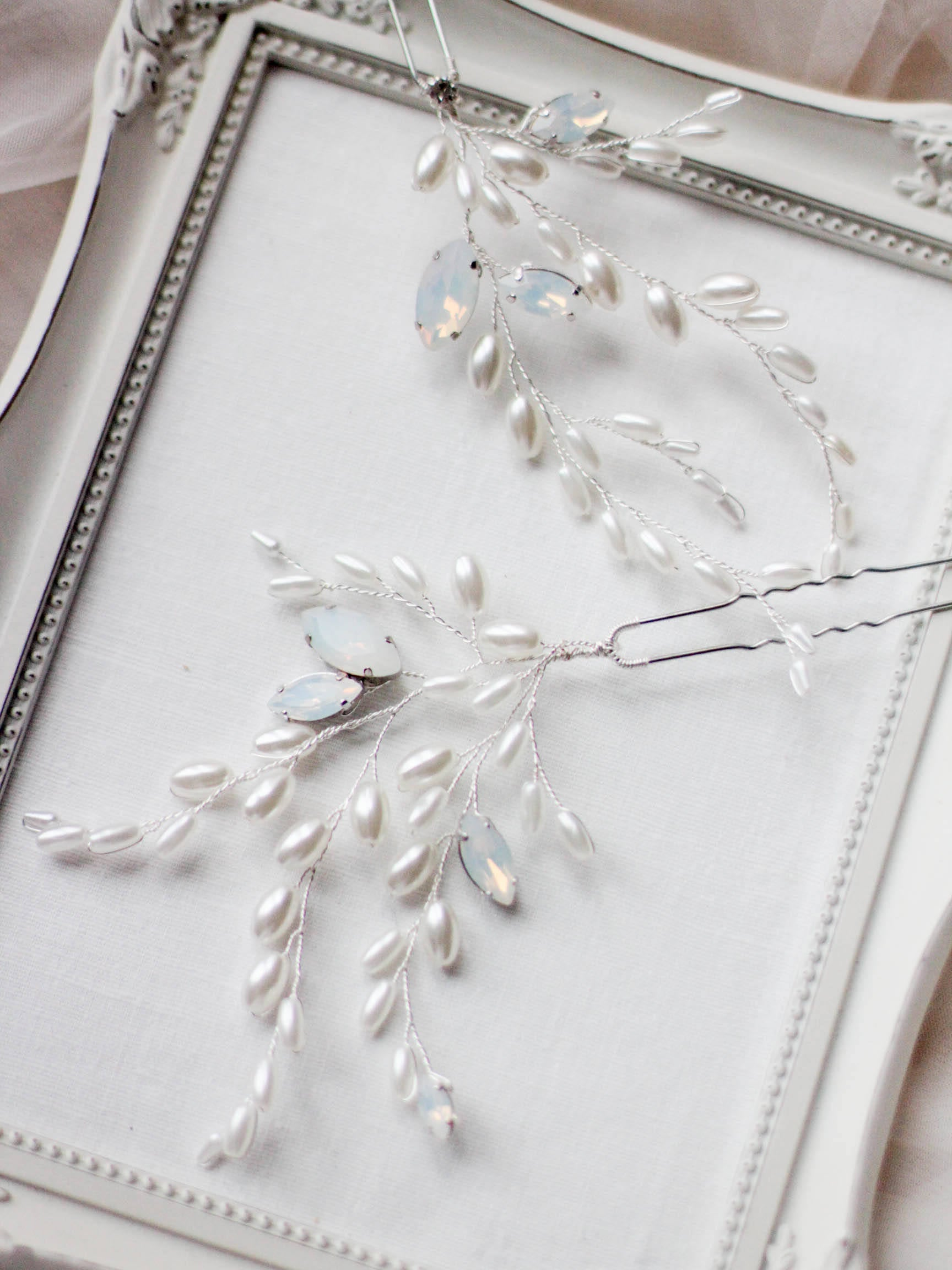 Bridal Opal Crystal Pearl Hair Pins