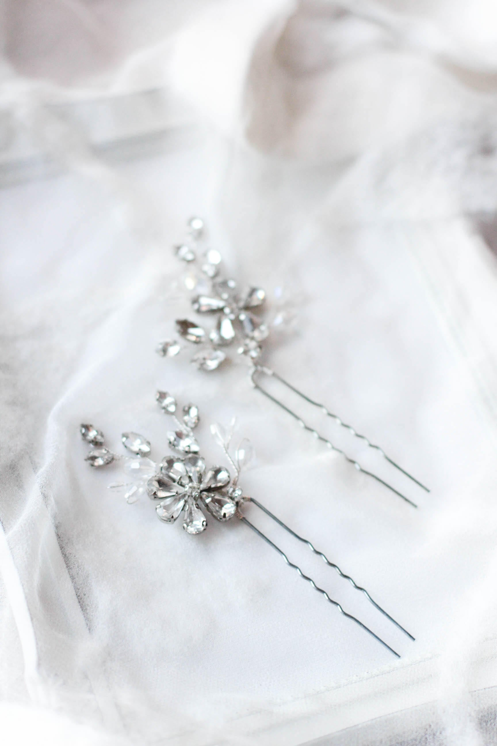 Rhinestone Hair Pins Crystal Decorated Bobby Pins PAIR