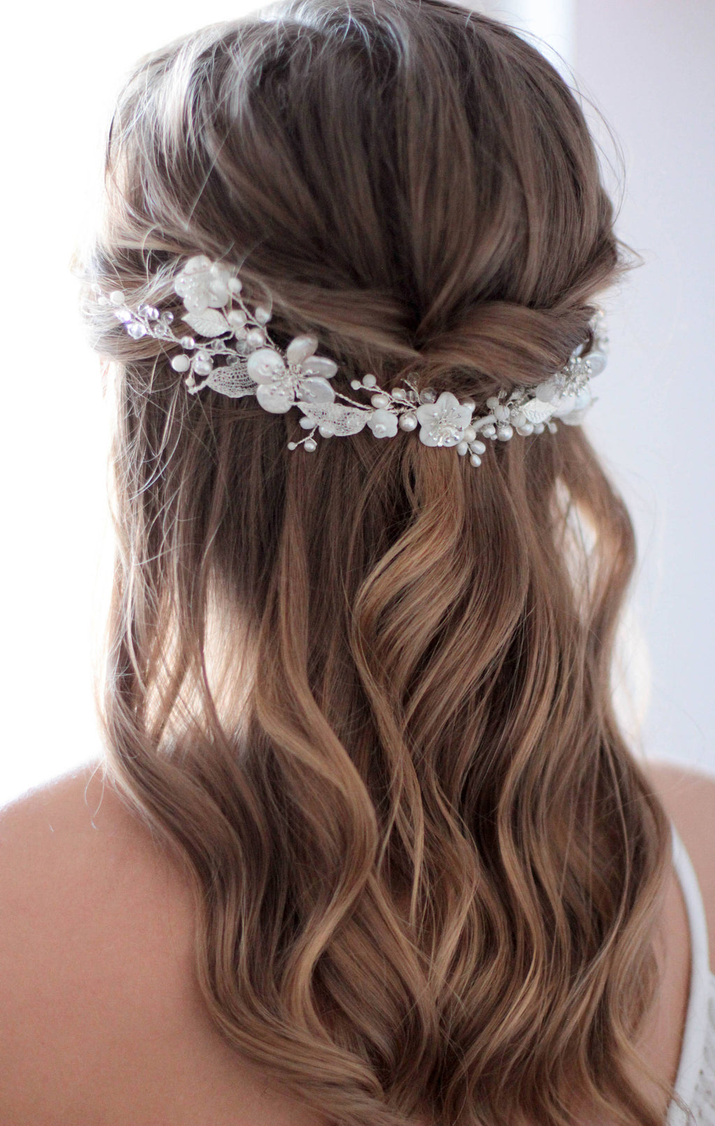 Natural Pearl Bridal Hair Piece With Mother of Pearl Adornments