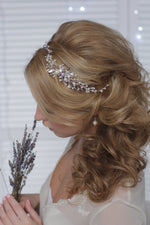 Bridal Headpiece with Pearls and Crystals Ivory Lavender